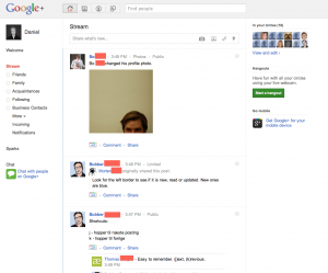 Google+ homescreen